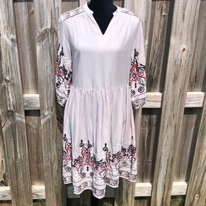 Pale pink embroidered boho dress